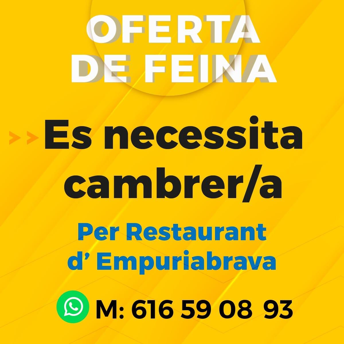 Es necessita cambrer/a per a restaurant d'Empuriabrava